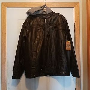 NWTO VTG Route 66 black leather look bomber jacket